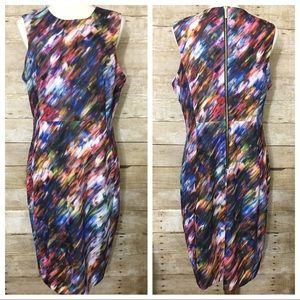 CALVIN KLEIN Blurred Multicolor Sheath Dress
